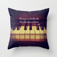 mozart Throw Pillows featuring Mozart Music by KimberosePhotography