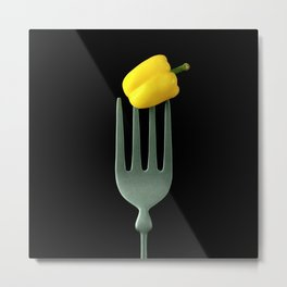 Yellow Pepper on Giant Fork Metal Print