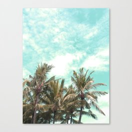 Wild and Free Vintage Palm Trees - Kaki and Turquoise Canvas Print