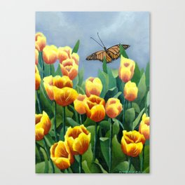 Tulips & Butterfly Canvas Print