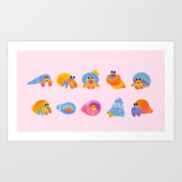 Hermit Crab - pink Art Print