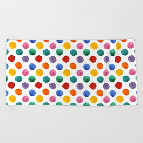 'Happiness and joy', colorful watercolor dots Beach Towel