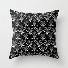 linocut 20s art deco pattern minimal black and white printmaking art Throw Pillow