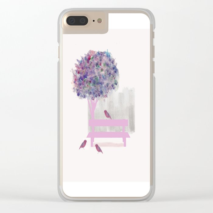 Park bench tree and birds Clear iPhone Case