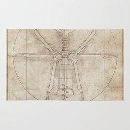 Da Vinci's Real Screw Invention Rug