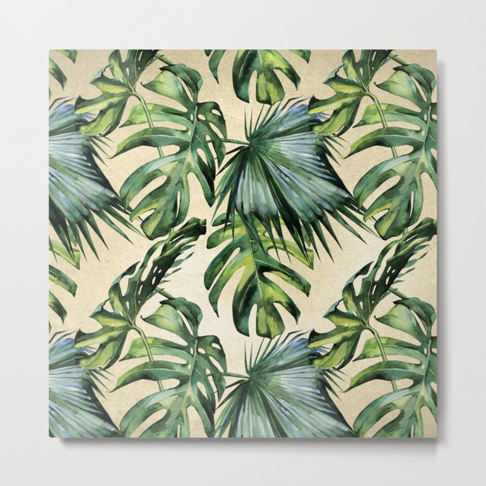 Palm Leaves Greenery Linen Metal Print