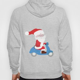 Santa Claus coming to you on his Scooter Hoody
