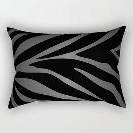 Black & Gray Metallic Zebra Print Rectangular Pillow