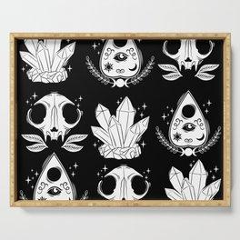 black magic pattern white Serving Tray