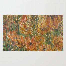 Floral orange print Rug
