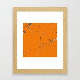 bold orange marble texture Framed Art Print
