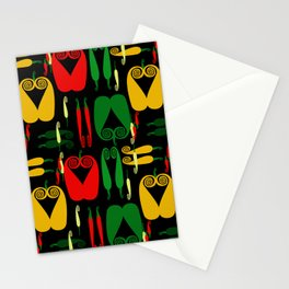 Pepper Paisley Pattern on Black Stationery Cards