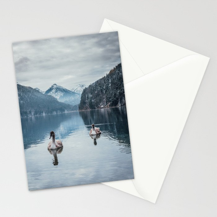 Couple of swans, romantic scene in bavarian alps Stationery Cards