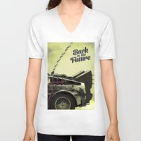 back to the future V-neck T-shirts featuring Back to the future by Duke.Doks