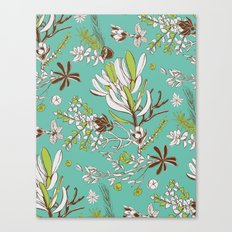 Teal Cradle Flora Canvas Print
