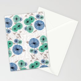 Blue & Green Flower Pattern Stationery Cards