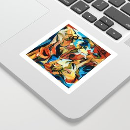 Abstract Musicians Painting Sticker
