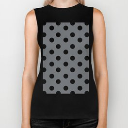 Grey & Black Polka Dots Biker Tank