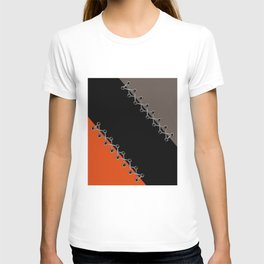 Lacing . Black , red and brown . T-shirt
