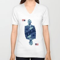 frank underwood V-neck T-shirts featuring Underwood by Derek Eads