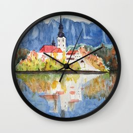 Church of the Assumption in Lake Bled Slovenia Wall Clock