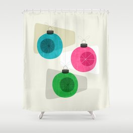 Retro Holiday Baubles Shower Curtain