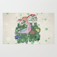 woodland Area & Throw Rugs featuring Woodland by Jo Cheung Illustration