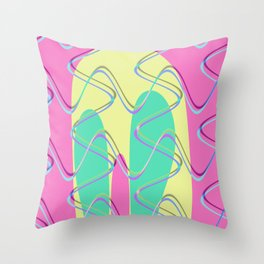 Nouveau Retro Graphic Pink Yellow and Green Throw Pillow