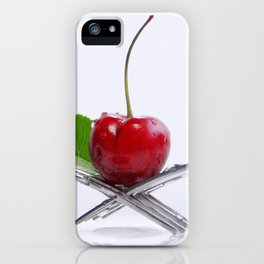 Cherry on fork iPhone Case