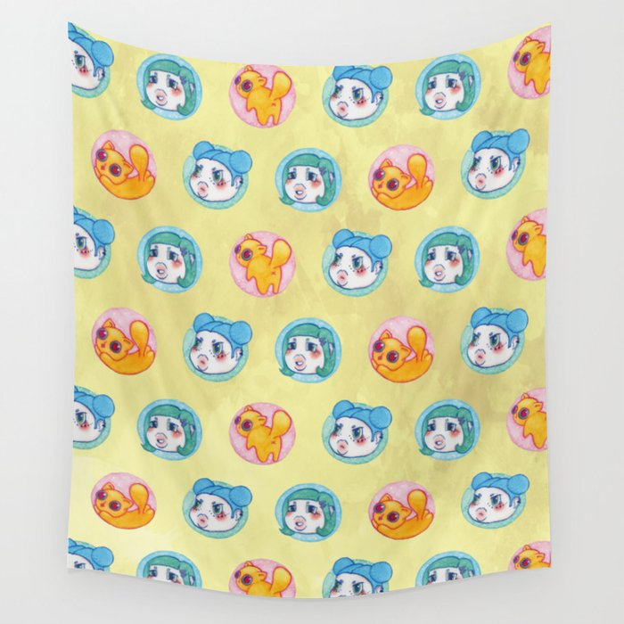 Umie & Mochi VIII - Pattern 1 - Yellow Wall Tapestry
