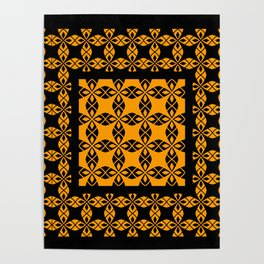 African Ethnic Pattern Black and Orange Poster