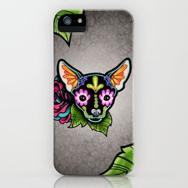 Chihuahua in Black - Day of the Dead Sugar Skull Dog iPhone Case
