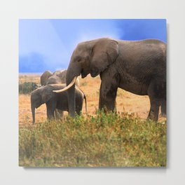Baby Elephant With Elephant Parents In Kenya, Africa Metal Print