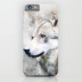 Watercolour grey wolf portrait iPhone Case