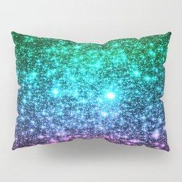 glitter Cool Tone Ombre (green blue purple pink) Pillow Sham