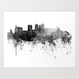Birmingham AL skyline in black watercolor on white background Art Print