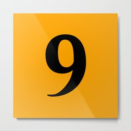 9 (BLACK & ORANGE NUMBERS) Metal Print