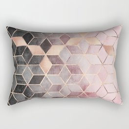 Pink And Grey Gradient Cubes Rectangular Pillow