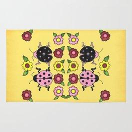 Ladybugs with Flowers Rug