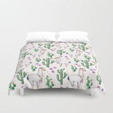 Llama Llamarama + Cactus Duvet Cover