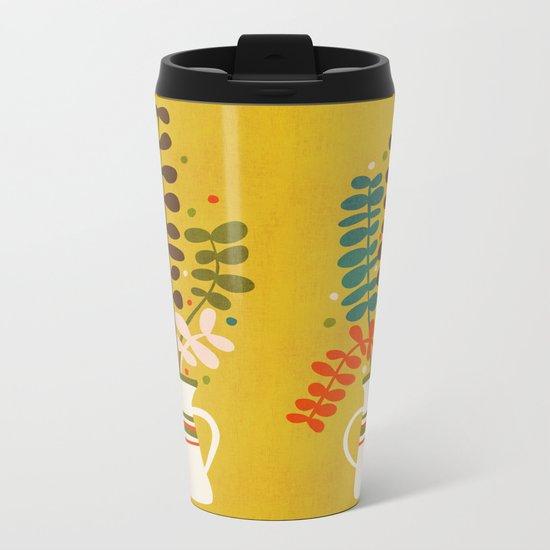 Potted Leaves Metal Travel Mug