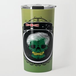 Australian skull with the australian flag on top of it Travel Mug
