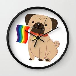 LGBT Gay Pride Flag Pug - Pride Gay Wall Clock