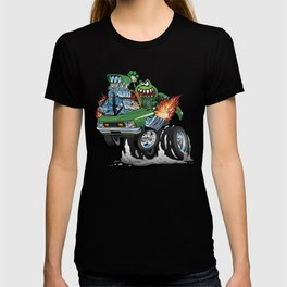 Seventies Green Hot Rod Funny Car Cartoon T-shirt