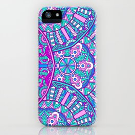 Beautiful Vintage Retro Bohemian Hippie Pink and Teal Mandala Design iPhone Case