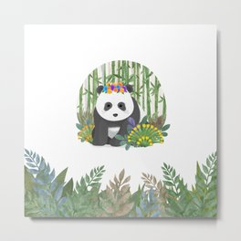 Panda in the forest Metal Print