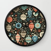 folk Wall Clocks featuring Festive Folk Charms by Poppy & Red