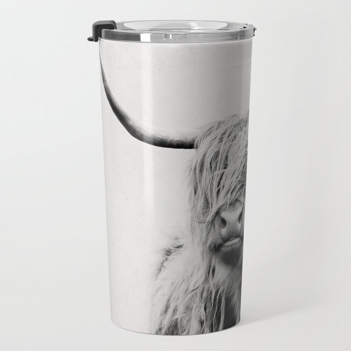 portrait of a highland cow Travel Mug