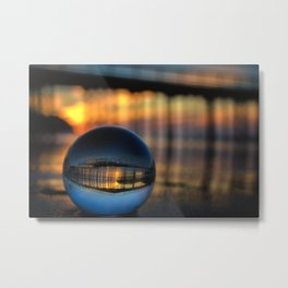 Avila Pier Captured in a crystal ball at sunrise Metal Print