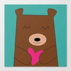Bear in love Teal Canvas Print